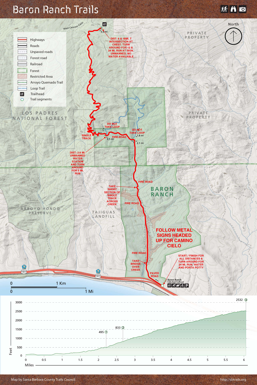 Baron Ranch Trail Run Map